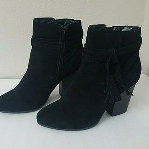 Black Suede Leather Tassel Ankle Boots